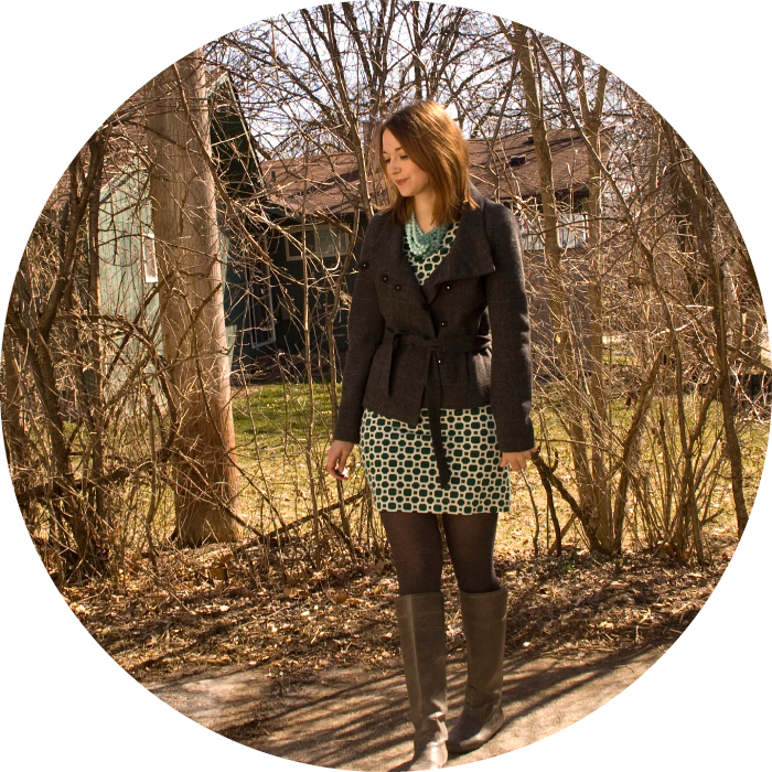 green longsleeve dress dash dot dotty fashion blog winter h&m banana republic jacket tights boots