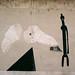 Pane bianco quotidiano: fantasmagoria; 1986. Acrilico e <br /> specchio su muro, cm 280x400.<br /> Maglione, Via Cavour.<br />