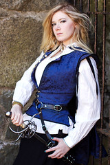 Storied Treads (Anna Fischer) Tags: blue costumes light sun fashion rock boston stone vintage costume dress natural retro blond pirate sword historical period traje kostm  puku    storiedtreads