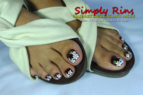 Nail Art White Flowers 05