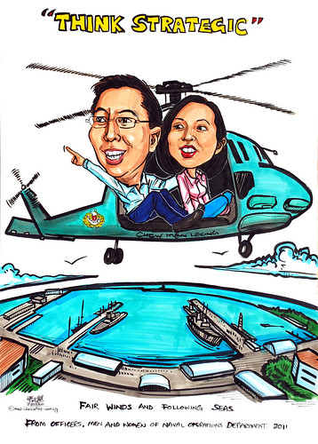 couple caricatures for Singapore Navy