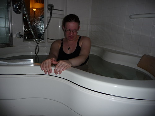 Laboring in the tub