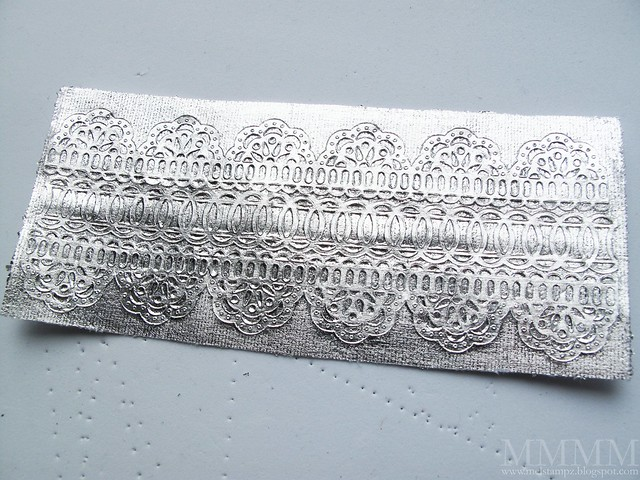 silverleaf on sticky-back canvas & sticky side of BasicGrey Ribbon Doilies mel stampz
