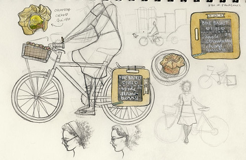 bike basket pies sketch