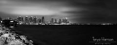San Diego Night Skyline Pano (Tanya Harrison) Tags: california city longexposure bridge blackandwhite skyline night lowlight sandiego coronado harborisland canonef1740mmf4lusm manfrotto sandiegobay bayfront ussmidway canoneos450d canoneosrebelxsi tanyaharrisonphotography