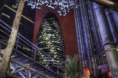 The Gherkin (TheFella) Tags: city uk greatbritain red england sky tree slr london night digital photoshop canon eos photo high europe dynamic unitedkingdom branches capital thecity nighttime photograph processing gb getty redsky dslr range gherkin hdr highdynamicrange lloyds thegherkin cityoflondon lloydsbuilding postprocessing 500d photomatix
