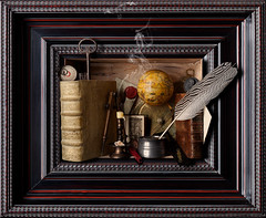 Still LIfe with Books (kevsyd) Tags: stilllife globe key books inkwell compass quill medals waxseal kevinbest dutchframe
