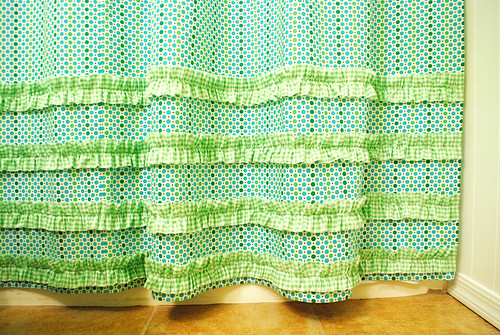 ruffled shower curtain (close-up)