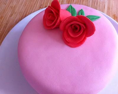 tarta fondant rosas II