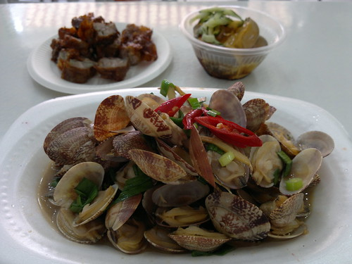 Clockwise from bottom: clams, five spice meat, and some jelly stuff