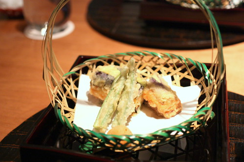 Age mono (Deep fried fish): ebi shinjo no nasu hasami-age