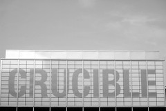 Shine your shoes and head for The Crucible, 2011 remix (zawtowers) Tags: world sun white black sign metal evening championship exterior theatre steel sheffield tournament tiles lettering iconic shining snooker crucible 2011 worldsnookerchampionship thehomeofsnooker