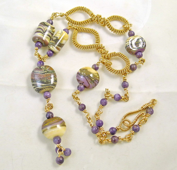 Charoite and Lampwork Necklace