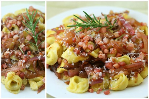 tortellini with caramelized red onions, pancetta, rosemary