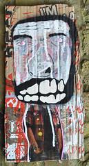 Fat head (id-iom) Tags: uk man london graffiti stencil screenprint teeth cardboard vandalism spraypaint drips brixton idiom