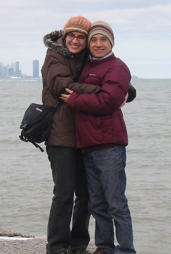 Chinese husband and I beside Lake Michigan