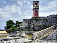 Clock Corfu (saxonfenken) Tags: old clock stone fort greece paving walls corfu 160 gamewinner challengeyouwinner a3b friendlychallenge thechallengefactory yourock1st pregamewinner 160misc