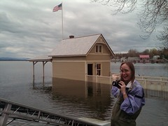 Kathryn Cramer enjoys submerged boathouse