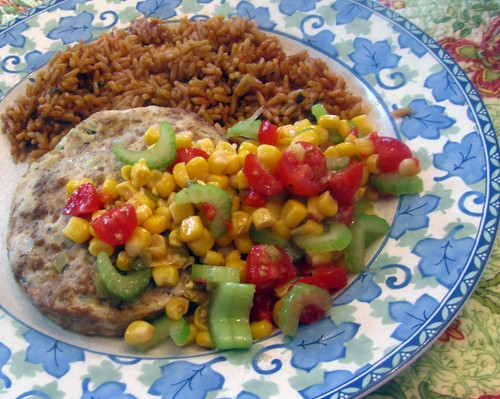 "Turkey Patty w/ Corn ""Relish"""