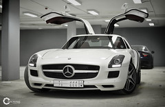 Mercedes-Benz SLS AMG | Bird of Happiness (Tareq Abuhajjaj | Photography & Design) Tags: light red sky bw orange moon white black green bird cars car sport yellow night race speed dark photography lights design photo big high nice nikon flickr italia nissan power top wheels fast happiness gear ferrari turbo mercedesbenz saudi arabia manual carbon fiber rims riyadh v8  sls amg 2010 ksa 070 tareq   alreem     d700     foilacar tareqdesigncom tareqmoon tareqdesign  abuhajjaj
