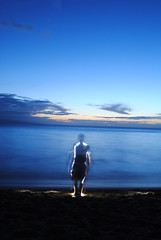 ghost on the pacific (emellin66) Tags: longexposure sunset portrait selfportrait lightpainting clouds hawaii pacific surreal maui flashlight extendedexposure kaanapali sooc creativeartphotography