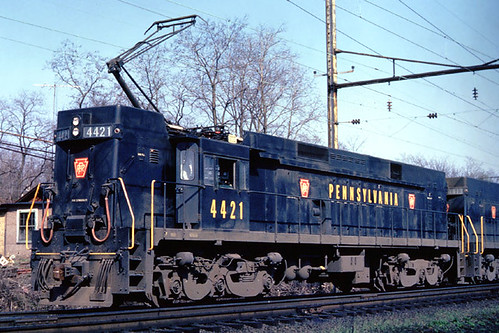 Pennsylvania Railroad General Electric E-44 electric freight locomotive # 4421 prior to the 1968 merger that created the Penn Central Railroad. by Eddie from Chicago