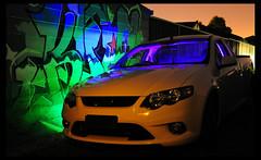 Ute (novopix) Tags: longexposure light lightpainting reflection ford night graffiti nikon pattern utility highlights ute mayfield d90 xr6