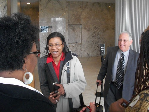 Detroit attorneys Vanessa Fluker and Jerome Goldberg outside a courtroom on April 29, 2011 where Goldberg is defending Fluker from sanctions put on her by Judge Colombo. Fluker is a staunch defender of foreclosure victims. (Photo: Abayomi Azikiwe) by Pan-African News Wire File Photos