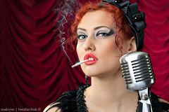 cabaret (Tilerr) Tags: red girl vintage women cigarette smoke young lips retro smoking redhead microphone mic cabaret