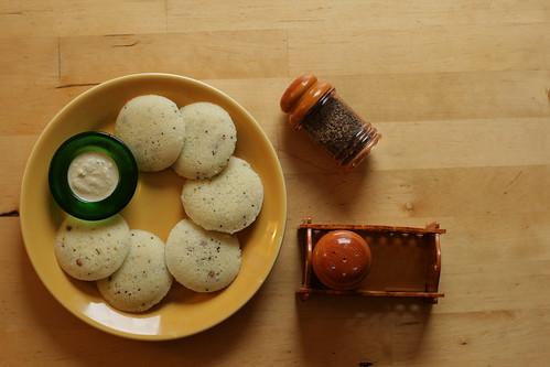 Rava Idly, Chatni and Pepper