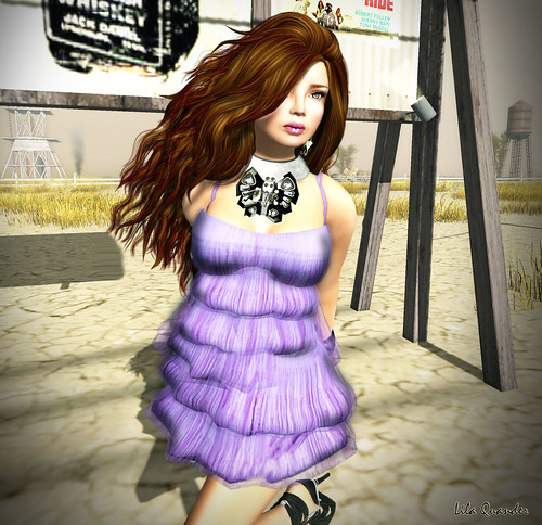 >TRUTH< Jacqueline 2 - chocolate & A&M Multi-layered Dress - Periwinkle (Close)
