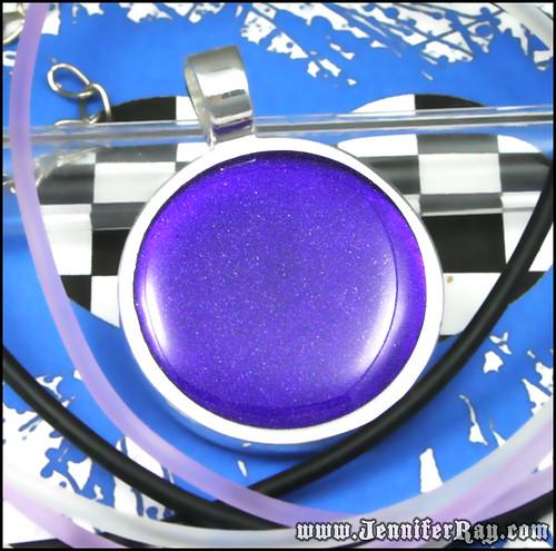 Royal Velvet Purple Pendant - Deep Glitter Resin Round Silver Necklace by JenniferRay.com