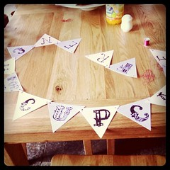 Making bunting for cupcake camp