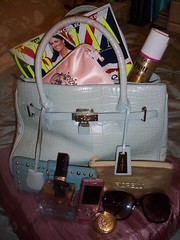 Pale blue Jasper Conran bag (All Things Bright 'n Beautiful) Tags: sunglasses magazine wallet lipstick hairspray handbag dior loreal fiorelli xoxo esteelauder grazia dolcegabanna samsungmobile jasperconran elnett mirrorcompact theonetherose