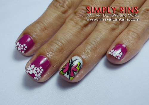 Nail Art Butterfly and Flowers 06