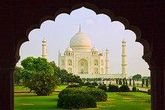 India (David Davis Photoproductions) Tags: travel india reflection tourism asian temple asia indian famous religion tomb tajmahal agra landmark icon mosque tourist historic unesco worldheritagesite mausoleum sacred destination marble domes minarets attraction uttarpradesh domed thirdworldcountry