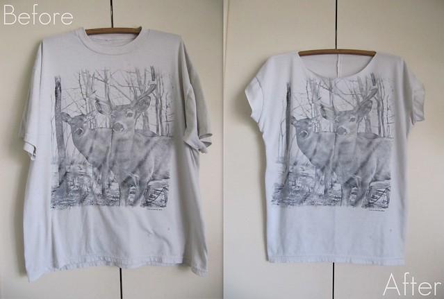 Before and After: Altered Men'd Deer Shirt