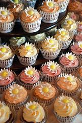Picket Fence Daisy Wedding Cupcake Tower (Sweet Fix) Tags: wedding summer daisies cupcakes spring strawberry chocolate peach banana cupcake daisy carrotcake picketfence fondant buttercream cupcaketower gumpaste glutenfree italianmeringue 7tier