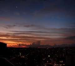 Esquerda (guiceccatto) Tags: city sunset pordosol sky moon skyline clouds lights curitiba nuvens lua