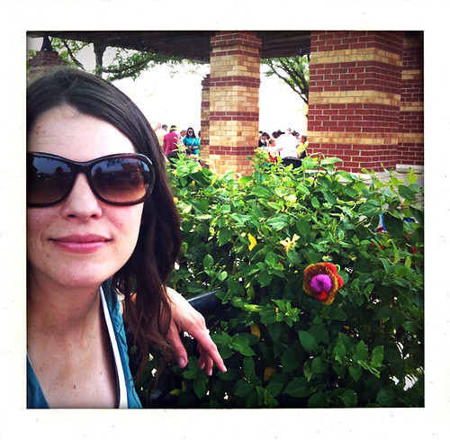 Yarn Bomb Felted Flower in bush