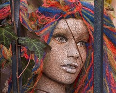 Mannequin IMG_8912 (T. Brian Hager) Tags: color mannequin vines eyes colorful decay wroughtiron ivy wig dummy cracked