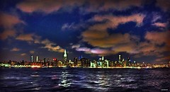 Midtown Manhattan From East River Night Boating Cruise - IMRAN (ImranAnwar) Tags: 2016 architecture blue bluehour boating clouds cruising dusk empirestate flickr history imran imrananwar inspiration iphone iphone6splus landmarks landscapes manhattan midtown newyork newyorkcity night outdoors panorama peaceful picasa river sky square stilllife summer tranquility yachting