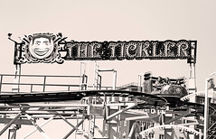 Not everyone likes being tickled. (kirstiecat) Tags: nyc newyorkcity people strangers women coneyisland amusementpark ride thetickler blackandwhite canon street monochromemonday monochrome adventure moment friendship together excitement