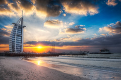 Burj Al Arab Sunset From Jumeirah Beach - (HDR Dubai, UAE) (blame_the_monkey) Tags: travel sunset reflection beach water architecture clouds photoshop landscape coast photo nikon dubai surf waves tripod uae wideangle pic architectural burjalarab blended nik breakers digitalphoto hdr highdynamicrange hdri blend topaz photoshopeffect superwideangle jumeirahbeach postprocessing travelphotography dynamicrangeincrease 2470 ultrawideangle travelphoto photomatix digitalblending tonemapped tonemapping hdrphoto niksoftware detailenhancer d700 topazadjust blamethemonkey elilocardi
