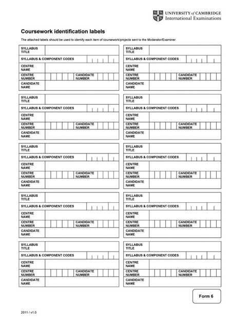 igcse 0522 coursework assessment summary form