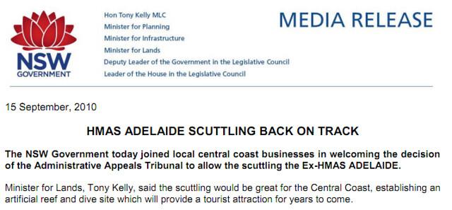 NSW Labor Minister Tony Kelly Supports HMAS Adelaide Sinking