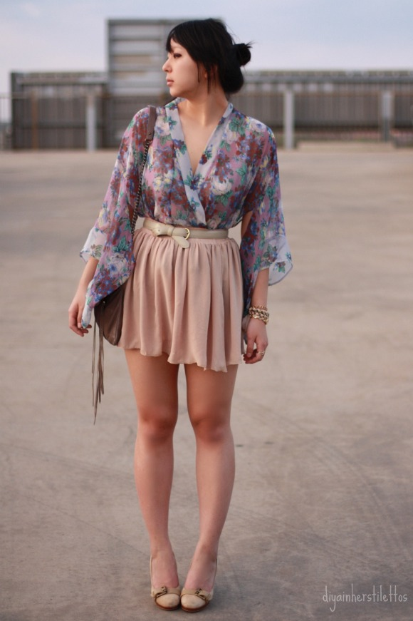 Topshop floral  blouse, American Apparel sheer double chiffon skirt, thrifted gray belt, Rebecca Minkoff leather fringe bag, thrifted pumps, Charlotte Russe + thrifted bracelets, Anne Klein gold watch