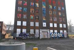 Derelict Building London Road (Di's Free Range Fotos) Tags: road park uk england building london wall portraits graffiti sussex brighton faces bricks tags east vacant preston derelict multistory hem gors wik