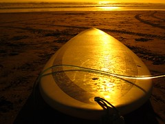 surfboard at sunset (Susana Fabian) Tags: sunset newzealand surf muriwai