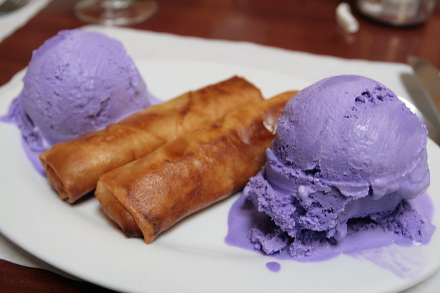 turon and ube ice cream